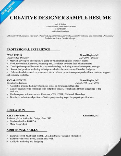 Ui Designer Resume Template by Creative Designer Resume Sle Resumecompanion Resume Sles Across All Industries