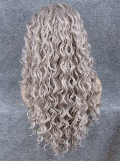 grey long curly synthetic lace front wig edw