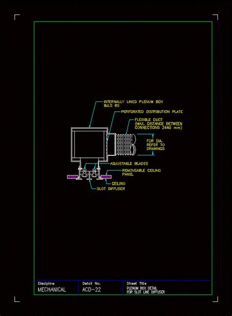 horizontal diffuser plenum box details  kb bibliocad