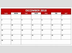 December 2018 Calendar Free Printable Editable File Download