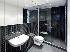 Minimalist interior decor coupled with black bathroom for Black and white modern bathroom