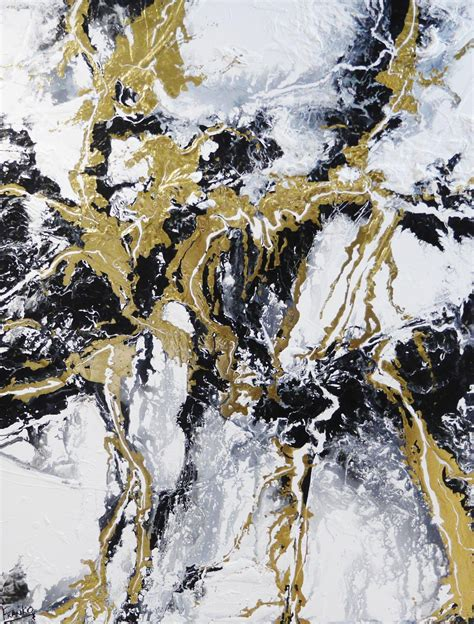 Abstract Black Gold Painting by Metallic Gold Infusion 140cm X 180cm Metallic Gold White