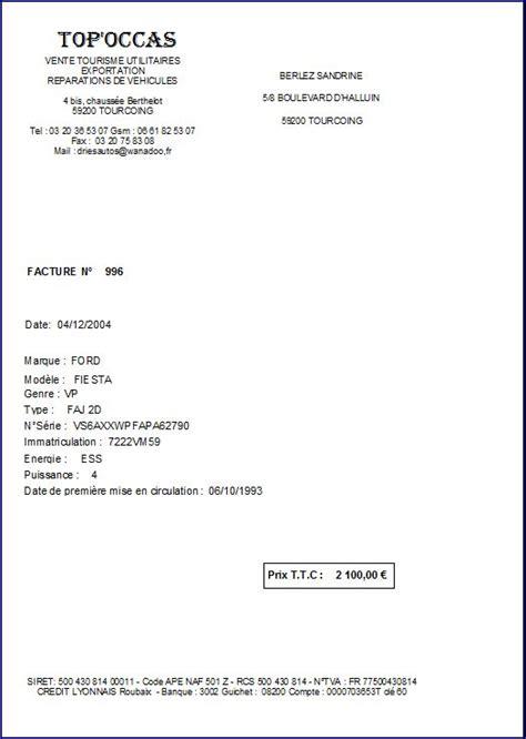 Modele Facture Vente Voiture Occasion Professionnel Modele Facture