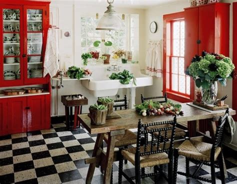Red Cabinet Black And White Tile Floor Kitchen