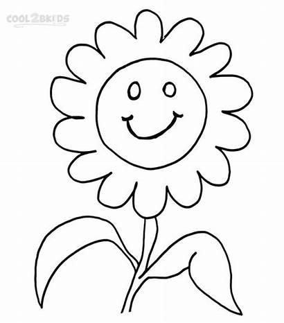 Smiley Face Coloring Pages Faces Happy Flowers