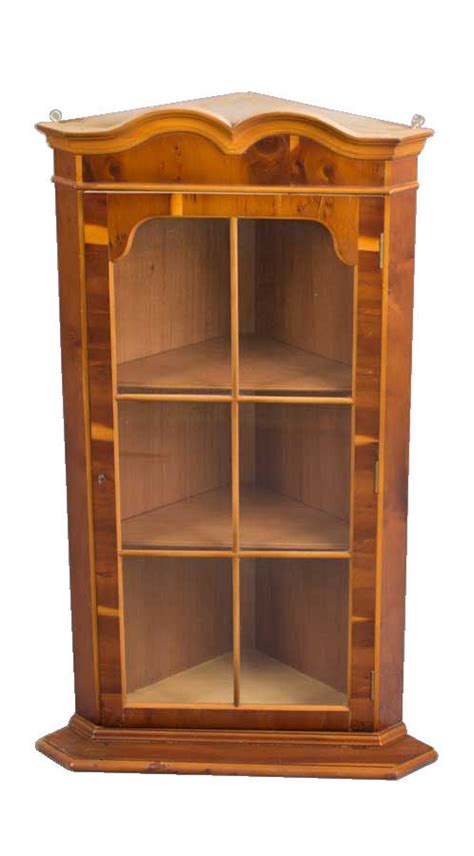 Hanging Cupboard by Antique Style Hanging Yew Wood Corner Cabinet