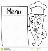 Menu Coloring Blank Chili Pepper Cartoon Chef Character Holding Hat Funny Illustration Isolated Drawing sketch template