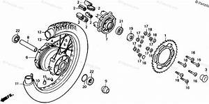 Honda Motorcycle 1989 Oem Parts Diagram For Rear Wheel