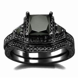 2.01ct Black Princess Cut Diamond Engagement Ring Wedding ...