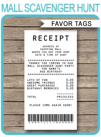 mall scavenger hunt party receipt favor tags