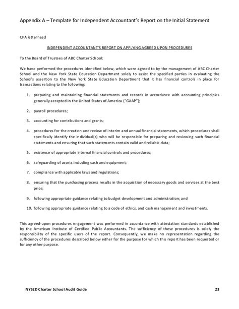 Agreed Upon Procedures Report Template by The Charter School Audit Guide