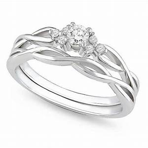 Precious diamond bridal ring set 025 carat round cut for Wedding ring sets white gold