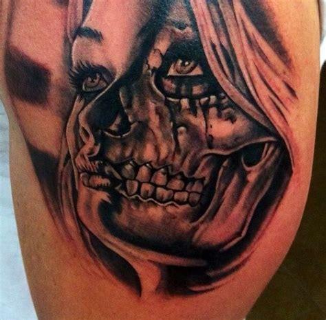Half Girl Half Skull Tattoo Mungfali