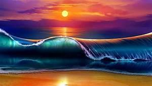 Sea Sunset - Fantasy Digital Art Wallpaper Wallpaper
