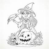 Coloring Halloween Witch Adults Pages Pumpkin Azuzl Adult Simple Crow Smiling Events Raven Talking Sitting sketch template