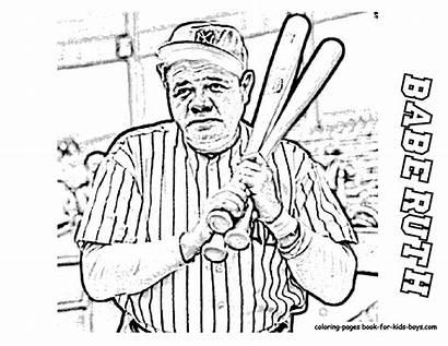 Coloring Baseball Ruth Babe Yankees Sheets Mlb