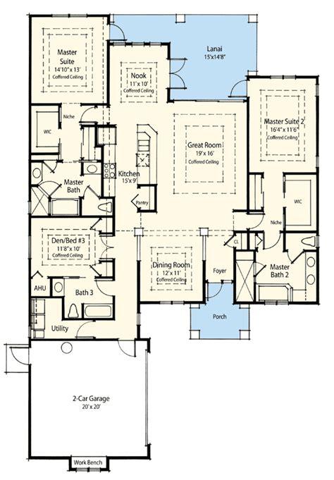 master suite house plans dual master suite energy saver 33093zr 1st floor