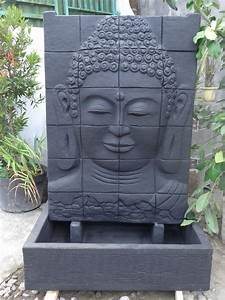 Fontaine Mur D Eau Exterieur : mur d 39 eau avec bassin visage de bouddha noir h 1 m 50 ~ Premium-room.com Idées de Décoration
