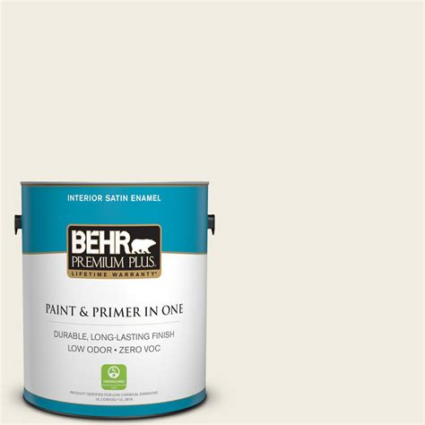 A cool, complex, use everywhereneutral. BEHR Premium Plus 1 gal. #12 Swiss Coffee Satin Enamel Zero VOC Interior Paint and Primer in One ...