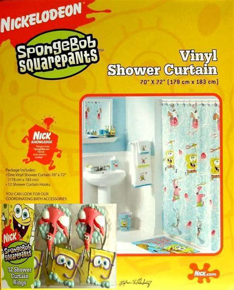 spongebob vinyl shower curtain and 12 hooks bath set