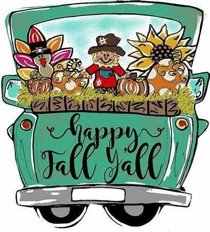 Truck Fall Pumpkin Clipart Door Hanger Wood