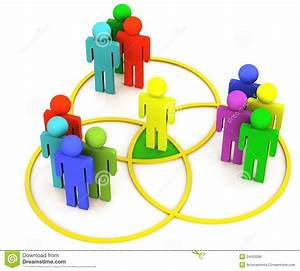 Venn Diagram People In Overlapping Circles Stock Image