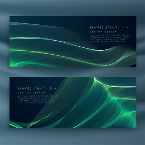 abstract green wavy banners set   vector art