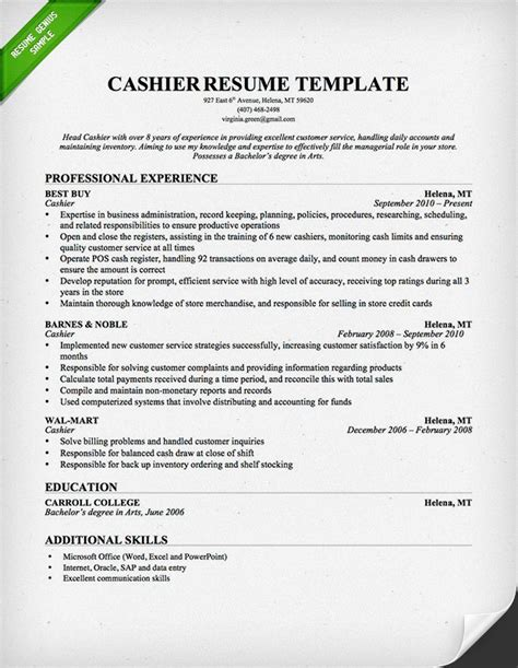 Things To Write On Resume For Cashier by 7 Free Cashier Resume Sles Small Business Resource Portal