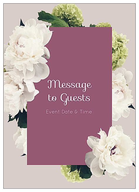 easy   white flowers invitation card design templates