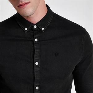 Chemise Jean Noir Homme : chemise en jean ajust e noire manches longues noir homme river island tops mezze bar nyc ~ Melissatoandfro.com Idées de Décoration