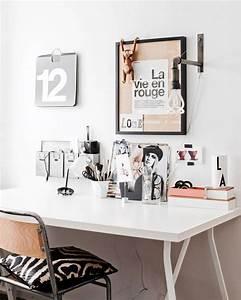 Bureau Bois Blanc : un bureau blanc noir et bois shake my blog ~ Teatrodelosmanantiales.com Idées de Décoration