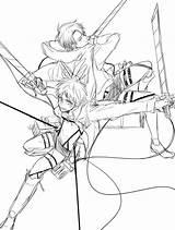 Levi Coloring Ackerman Anime Titan Attack Eren Drawing sketch template