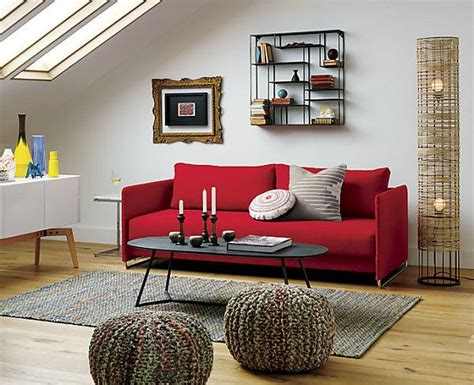 small cabin decorating ideas  inspiration red couch