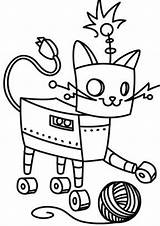 Robot Coloring Pages Tulamama Easy Cat Print Min sketch template