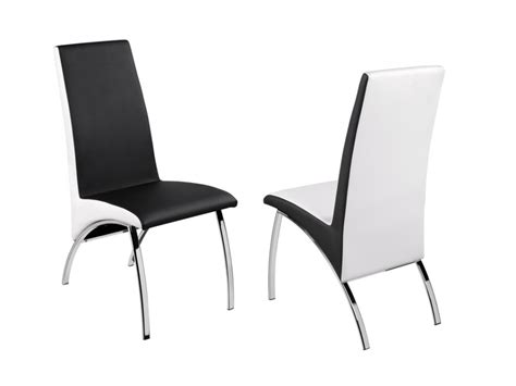 lot de chaises anita simili noir et blanc et chrome