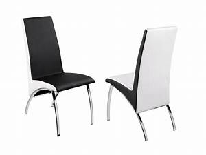 Lot de chaises anita assise et dossier simili blanc for Meuble salle À manger avec chaise de salle a manger noir et blanc