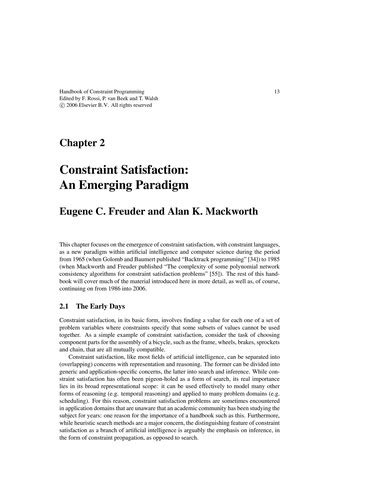 Handbook of constraint programming (2007 edition) | Open