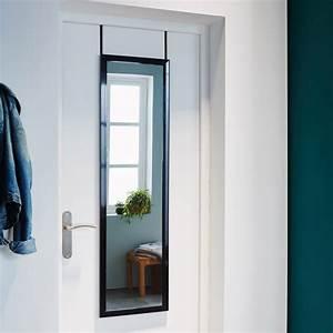 Miroir Adhésif Pour Porte : miroir de porte suspendre coloris noir 30x120 cm ~ Dailycaller-alerts.com Idées de Décoration