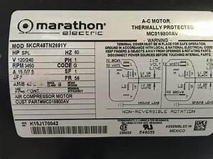 5kcr48tn2691y Marathon Air Compressor Motor 240vt 5hp 56fr