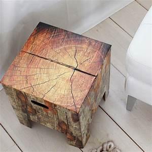 table de chevet tronc d'arbre