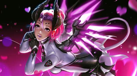 Mercy Overwatch Pink Artwork Girl 4k