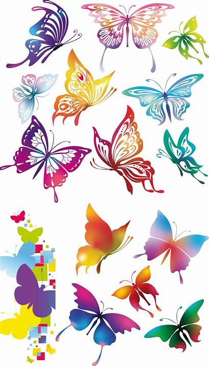 Butterflies Colorful Butterfly Vector Clipart Abstract Rainbow