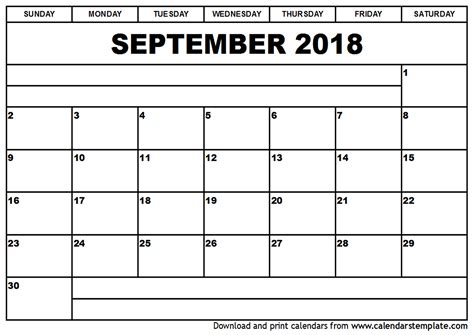 September 2017 Calendar Template September 2018 Calendar Template Printable 2017 Calendars