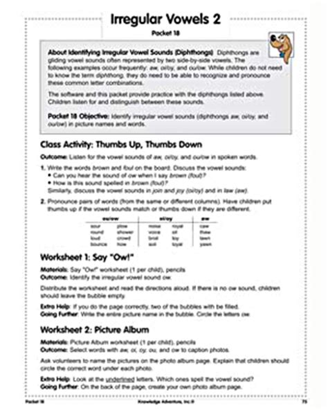 irregular vowels 2 reading lesson plan on diphthongs