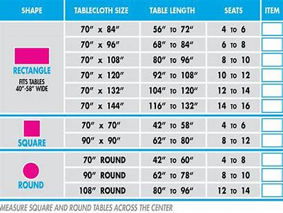 Tablecloth Round Sizes Chart Guide Tablecloths Dining