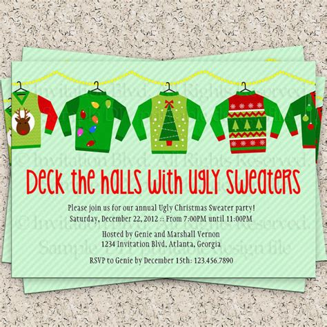 ugly christmas sweater party invitations theruntime com