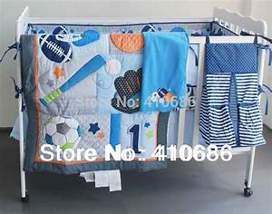 Blue Base Ball Sports Boy Baby Crib Bedding Set
