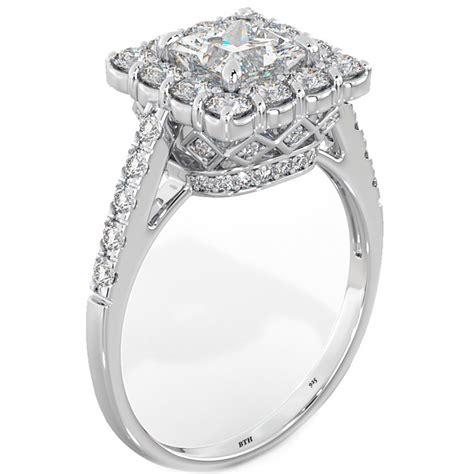 princess cut halo 925 sterling silver wedding engagement bridal ring