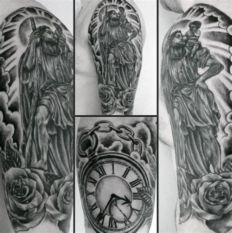 st christopher tattoo designs  men manly ink ideas