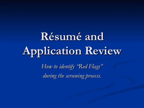 Resume Review by Resume Application Review Process
